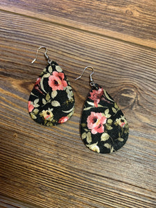 Faux Leather Floral Teardrop Earrings - Black
