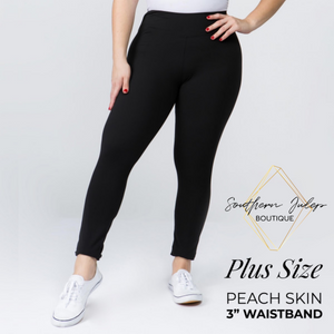 "Plus Size 3"" Waistband Buttery Soft Leggings - Black"