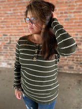 Load image into Gallery viewer, Olive Stripe Rib Knit Long Sleeve Henley Top - Made In USA