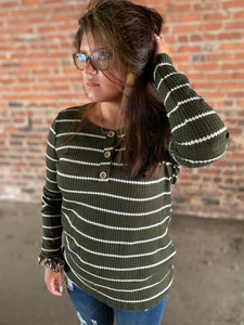 Olive Stripe Rib Knit Long Sleeve Henley Top - Made In USA