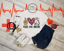 Load image into Gallery viewer, Peace Love Nursing Heart SS Boutique Tee - Custom Printed Preorder Tees