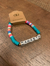 "Load image into Gallery viewer, Mint Multicolor ""Namaste"" Beaded Stretch Bracelet"