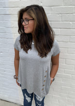 Load image into Gallery viewer, Heather Grey Short Sleeve Asymmetrical Hem Side Button Tunic Top