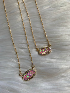 Glitter Dainty Necklace - Pink