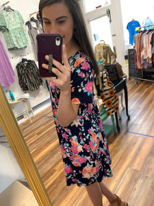 Navy Floral Print Babydoll Midi Dress with Pockets - USA Made