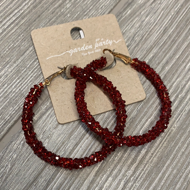 The Leah Hoop Earrings - Red
