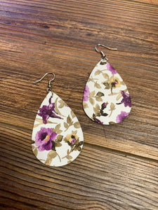 Faux Leather Floral Teardrop Earrings - Purple