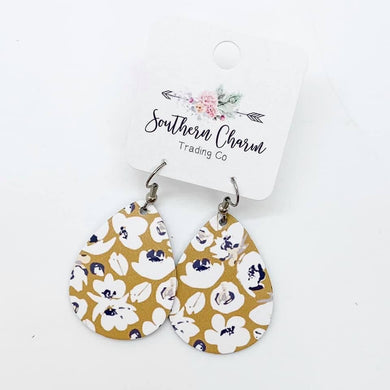 The Callie Earring - Mustard Floral Itty Bitties