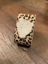 Load image into Gallery viewer, Semi Precious Stone Leopard Faux Fur Cuff Bracelet - White