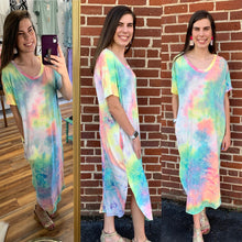 Load image into Gallery viewer, Tie Dye Pocketed Summer Sleeveless Maxi Dress - USA Made - Pink/Yellow/Mint
