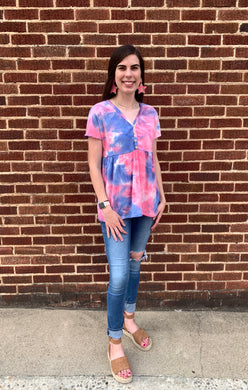 Tie Dye V-Neck Babydoll Blouse with Button Detailing - Made In USA