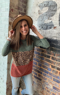 Leopard Color Block Drop Shoulder Sweater Blouse - USA MADE