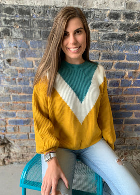 Mustard Multi Color Chevron Relaxed Fit Ribbed Knit Sweater