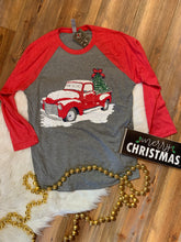 Load image into Gallery viewer, Lightheart Merry Christmas Vintage Truck 3/4 Raglan Premium Baseball Tee