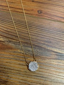 Dainty Druzy Circle Necklace - Silver