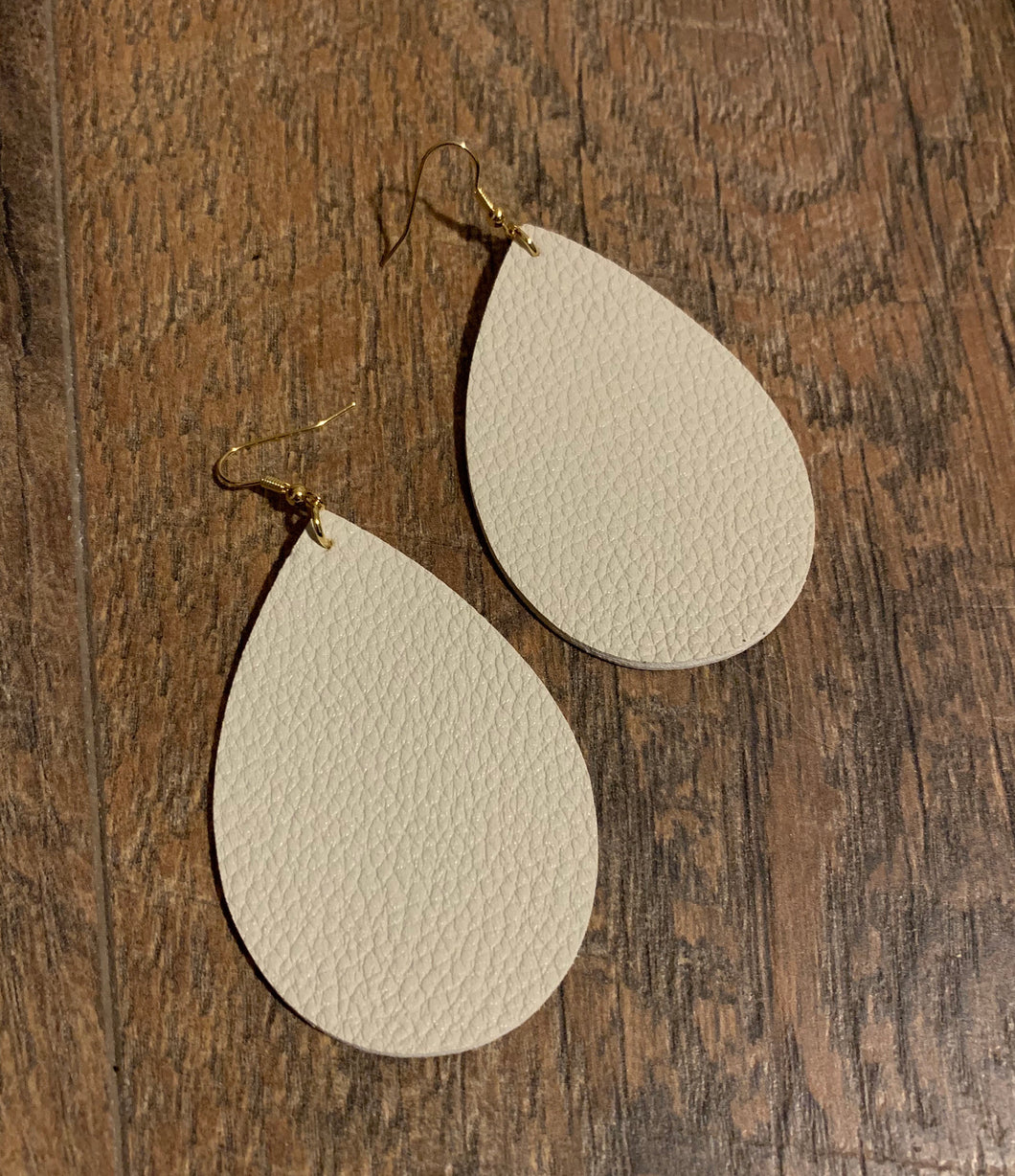 Faux Leather Teardrop Statement Earrings - Milky Grey