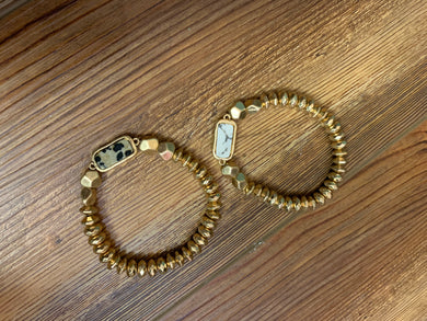 Gold Beaded Marble Bar Bracelet