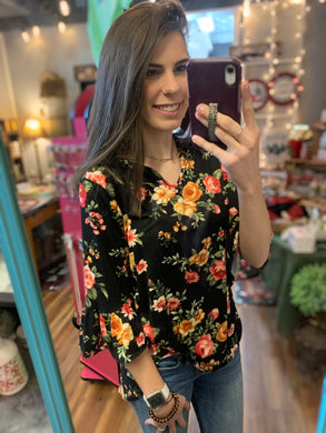 Black Floral Bell Sleeve Hi-Lo Tunic