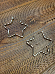 Chunky Metal Star Earrings - Silver