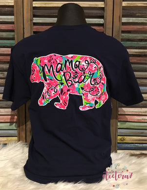 Mama Bear Floral Short Sleeve Navy Tee -Available In Store & Preorder