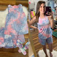 Load image into Gallery viewer, Pink & Blue Tie Dye Loungewear Set - Top & Shorts - Made in the USA