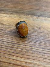 Load image into Gallery viewer, Burnt Orange Patterned Stone Hammered Silver Metal Boho Ring