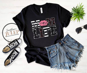 Mom Life Kissing Pink Lips SS Boutique Tee - Custom Printed Preorder Tees
