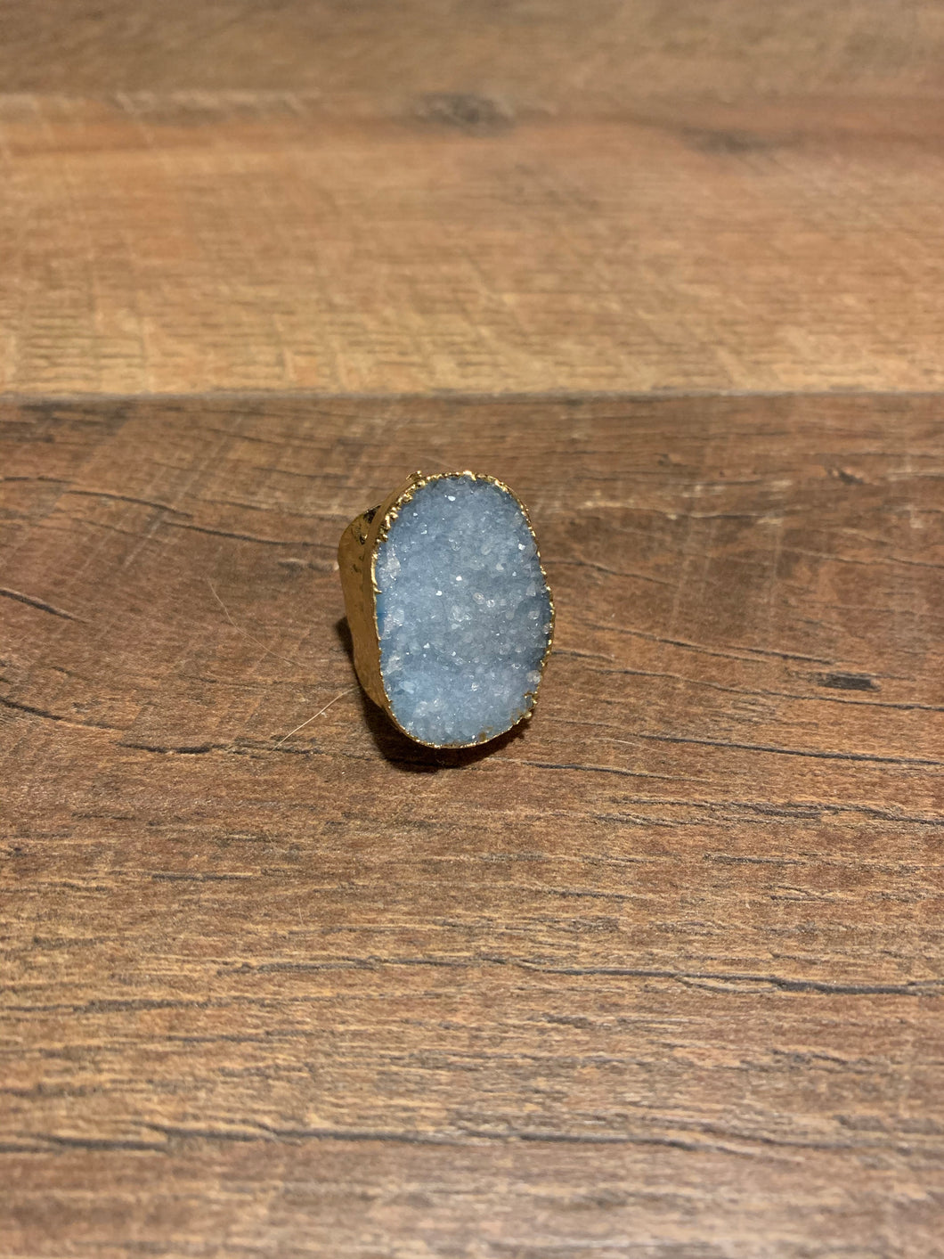 Ice Blue Druzy Boho Hammered Gold Ring