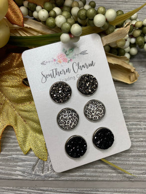 Gunmetal/Silver Leopard/Black Druzy Triplet Earring Collection