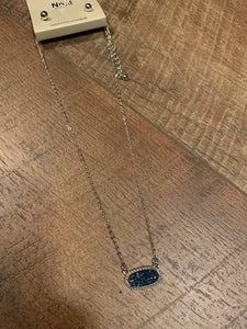 Dainty Oval Druzy Pendant Necklace & Earring Set - Blue, Silver