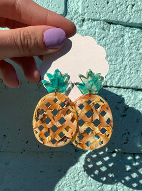 Tropical Pineapple Acetate Dangle Earrings