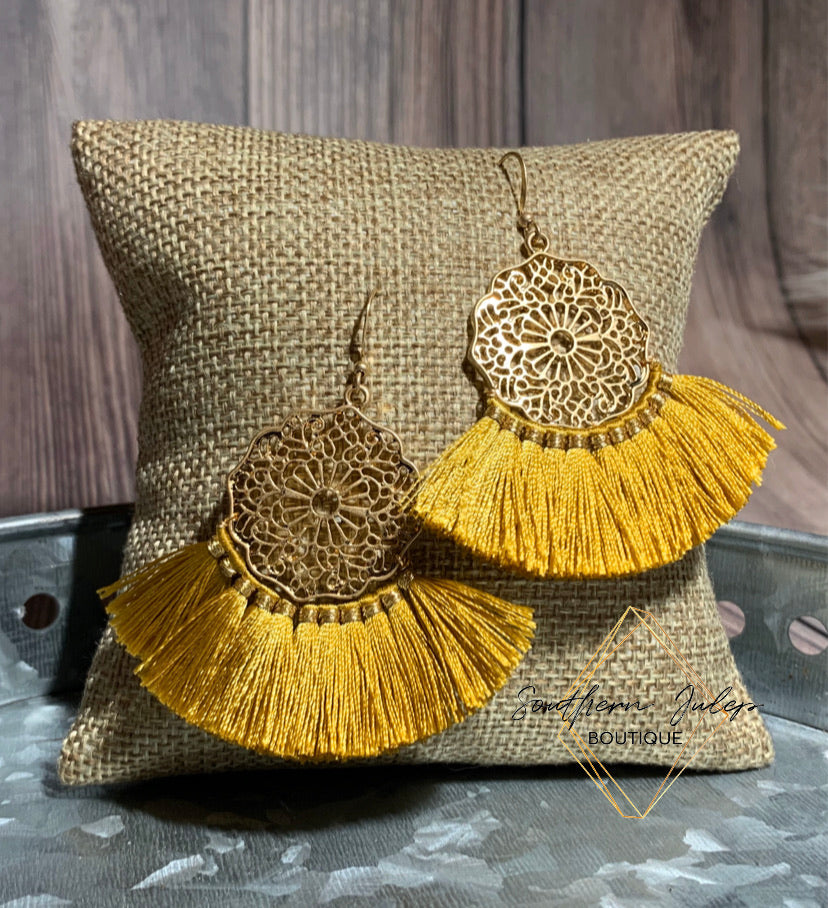 Floral Filigree Fringe Earrings - Mustard