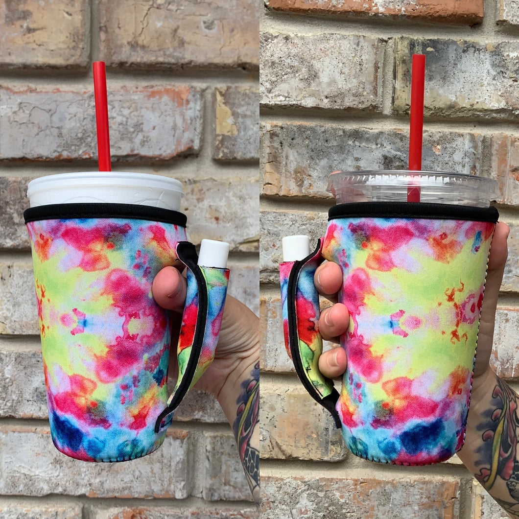 Tie Dye Neoprene 16oz Pint, To Go Cup Holder with Pocket Handle