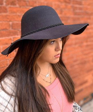 Wide Brim Felt Floppy Hat w/ Braided Band - Black