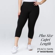 "Load image into Gallery viewer, Plus Size 3"" Waistband Capri Length Buttery Soft Leggings - BLACK"