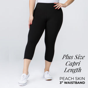 "Plus Size 3"" Waistband Capri Length Buttery Soft Leggings - BLACK"