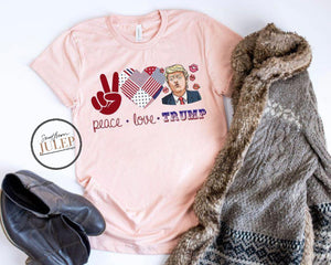 Peace Love Trump SS Boutique Tee - Custom Printed Preorder Tees