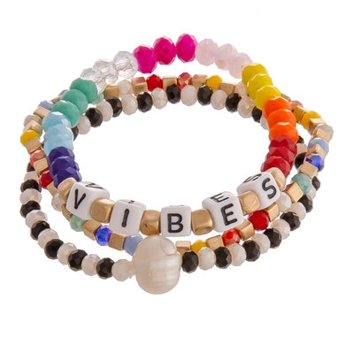 Multicolored Beaded Set of 3 Bracelets - VIBES