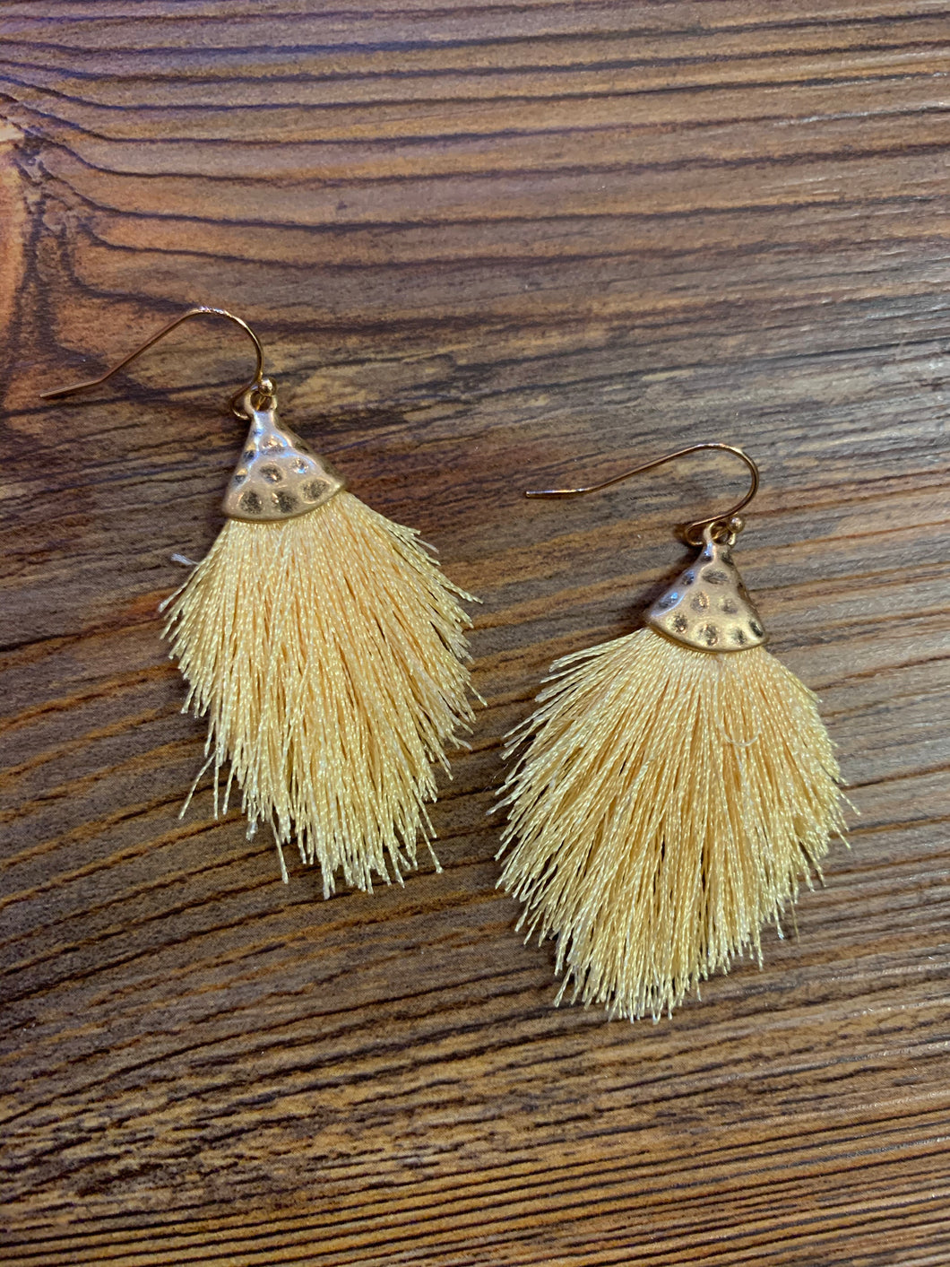 Feathered Fringe Drop Earrings - Pale Yellow