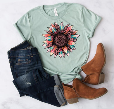 PREORDER - Colorful Leopard Print Sunflower Boutique Soft Tee