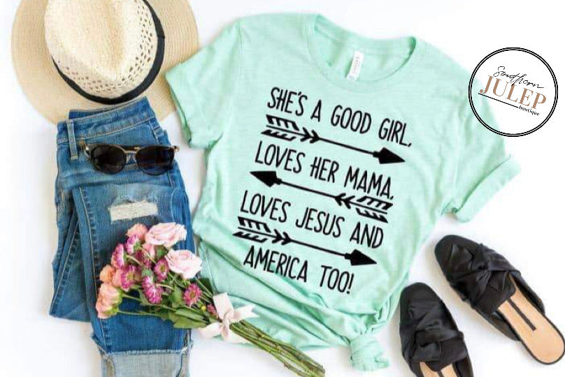 She's A Good Girl SS Boutique Tee - Custom Printed Preorder Tees
