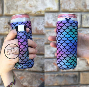 Mermaid Tail Neoprene 12oz Slim Can Cooler Koozie with Pocket Handle