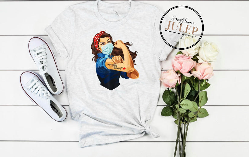 Respiratory Therapist Nurse Rosie Heathered SS Boutique Tee - Custom Printed Preorder Tees
