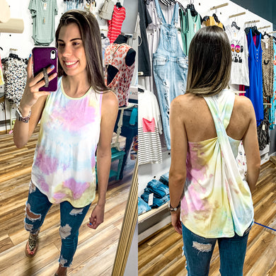 Tie Dye Twist Back Tank Top (Lavender, Mint & Yellow) - Made In USA