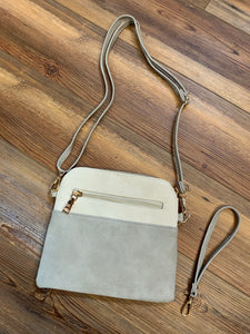 Tara Tassel Vegan Leather Crossbody Bag - Grey/Ivory