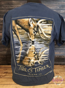 Deer Reflection Buck Men's Pocket T-Shirt - Nature Inspired