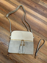 Load image into Gallery viewer, Tara Tassel Vegan Leather Crossbody Bag - Grey/Ivory