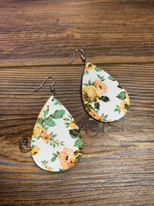Faux Leather Floral Teardrop Earrings - Yellow