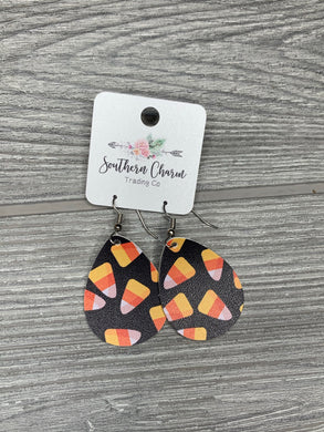 Candy Corn Halloween Itty Bitty Teardrop Earrings