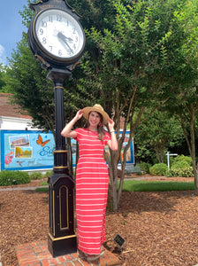 Coral Striped Short Sleeve Pocketed Maxi Dress - USA MADE